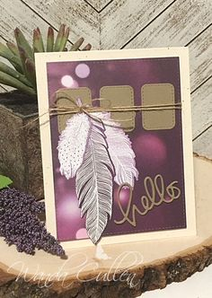 Hello everyone! Are you ready for another Color Throwdown Challenge ? Amy Rysavy is our hostess and was inspired by the colors in t. Feather Cards, Greeting Cards Handmade, Hello Everyone, Diy Crafts, Scrapbook, My Favorite Things, Frame, Feathers, Stamping
