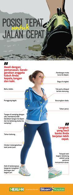 Infografis: Jalan cepat perlu dilakukan dengan tepat. Perhatikan posisi tubuh Anda selama berjalan!