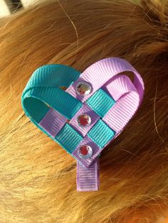 Valentines Heart Sculpted Hair Bow Blue and Purple. $2.50, via Etsy.