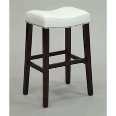 Lewis White PU and Espresso Wood Counter Height Stool (Set of 2)