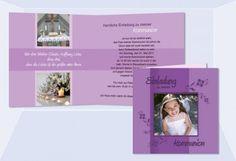Einladung Kommunion / Konfirmation, Klappkarte 12,5x12,5 cm, lila