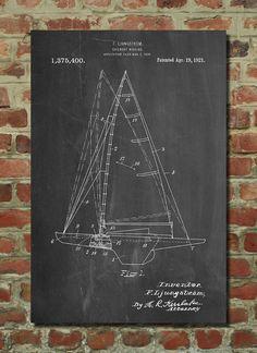 Sailboat Poster, Sailboat Patent, Sailboat Print, Sailboat Art, Sailboat Decor, Sailboat Wall Art, Sailboat Blueprint