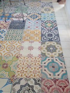 Beautiful colourful Moroccan tiles laid in a multi-pattern design on the floor could just as easily be on the wall Kitchen Tiles, Kitchen Flooring, Flooring Tiles, Wooden Flooring, Tile Patterns, Mixing Patterns, Tile Design, Tile Floor, Decoration