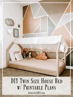 Learn how to build this adorable twin size house bed in as little as a day using these easy to follow printable plans.