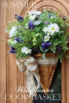 Wildflower Door Basket perfect for Summer from Confessions of a Serial Do-it-Yourselfer
