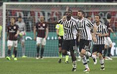 Paul Pogba Photos - Paul Pogba of Juventus FC celebrates his goal with his team-mate Andrea Barzagli during the Serie A match between AC Milan and Juventus FC at Stadio Giuseppe Meazza on April 2016 in Milan, Italy. - AC Milan v Juventus FC - Serie A Paul Pogba, Juventus Fc, Ac Milan, Football, Soccer, Futbol, American Football, Soccer Ball