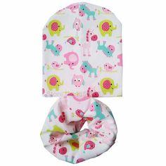 New Fashion Autumn Winter Baby Hat Children Hat Scarf Collars Animal Print Boys Girls Beanies Kids Cap Infant Hats Set Baby Caps
