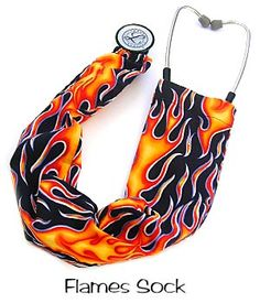 Stethoscope Cover Flames 100% cotton made in the USA