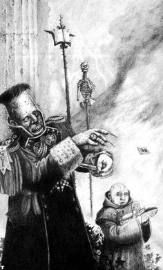 Govenor - Noble - Necromunda - Warhammer - GW [by John Blanche] Ice Warriors, Warhammer 40k Art, Black And White Artwork, Macabre Art, Military Art, Comic Art, Illustrators, Steam Works, Photo Art