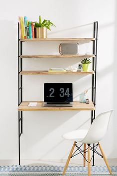 Home Office Storage, Desk Storage, Home Office Desks, Bedroom Storage, Ladder Storage, Office Spaces, Storage Ideas, Apartment Desk, Apartment Furniture