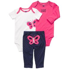 Carter's Girls 3 Piece Butterfly Turn Me Around Set with Long Sleeve Bodysuit, Short Sleeve Bodysuit, and Pant