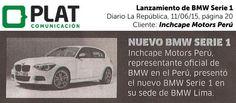 Inchcape Motors: Lanzamiento de BMW Serie 1 en el diario La República de Perú (11/06/15)