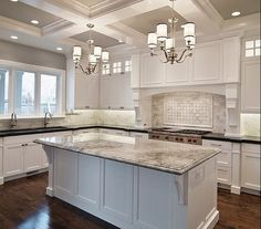 Gorgeous white and marble kitchen - love everything from floor to ceiling