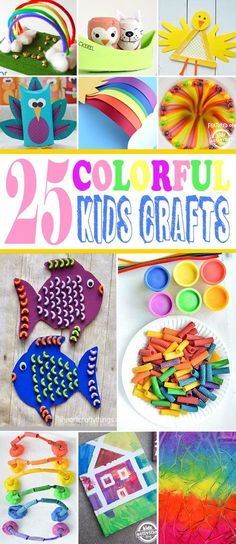 Colorful Kids Craft Ideas Nothing says springtime like color! This roundup of 25 colorful kids crafts are great projects for kids of all ages! Crafts To Do, Diy Crafts For Kids, Projects For Kids, Easy Crafts, Craft Projects, Arts And Crafts, Craft Ideas, Craft Activities For Kids, Preschool Crafts