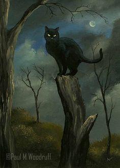 "ACEO PRINT ""Black Cat"" halloween night moon spooky art card by Paul M Woodruff"
