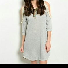Gray With Touch of Lace Shoulder Dress Gray Dresses Mini