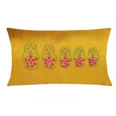 Mustard Matryoshka Embroidery Pure Silk Pillow Cover  Apps   Save Products/Mustard Matryoshka Embroidery Pure Silk Pillow Cover