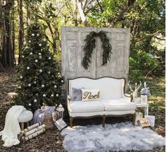 Christmas scene featuring our white love seat white wash doors backdrop perfec