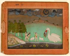 Bakasura, the Crane Demon, Disgorges Krishna 1680 Bikaner Bhagavata Purana Lotus Plant, Bhagavata Purana, Indian Paintings, Indian Art, Art And Architecture, Crane, Krishna, Folk Art, Miniatures