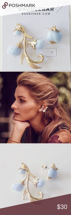 """BaubleBar Olivia Palermo Anderson Ear Crawler Set Olivia Palermo Guest Bartender Collection. Twisting vines with periwinkle rosettes are fairytale precious in this statement ear crawler piece. Asymmetrical set consists of two pieces including one right-sided stud and one left-sided ear crawler.   Materials: Plated metal, acrylic. Closure: Post back. Measurements: Length (crawler): 1.8""""; width (crawler): 1.2""""; length (stud): 0.65""""; weight: 0.1 oz. lightweight. BaubleBar Jewelry Earrings"""