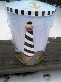 20 Gallon Hand Painted Galvanized Can by krystasinthepointe, $129.00