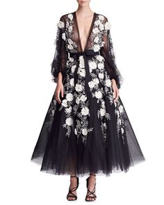 Long-Sleeve+Floral-Embellished+Midi+Gown+by+Marchesa+at+Bergdorf+Goodman.