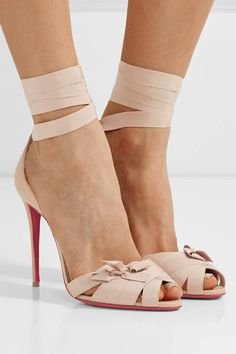 Christian Louboutin | Christeriva 100 bow-embellished grosgrain and suede sandals | NET-A-PORTER.COM