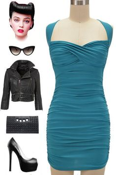 Teal 50s Style Sexy Bombshell Pinup Halter Mini Dress with Gathered Detail   eBay