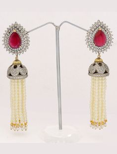 White # Pearl with Lovely Design Beautiful Earrings With Strings Of Beautiful Semi Precious Beads, Stone & white AD Stones. Get it ▶ http://www.styyo.com/white-pearl-with-lovely-design/pid=NDQ3