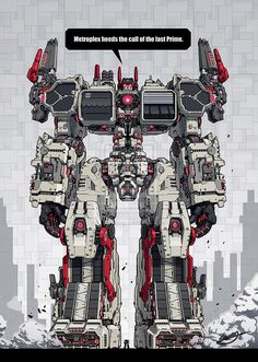 The Metroplex is buggest autobot and it's my favorite one.<<< that's Optimus standing beneath him Gundam, Thundercats, Gi Joe, Avengers, Transformers Autobots, Accel World, Mecha Anime, Ex Machina, Optimus Prime