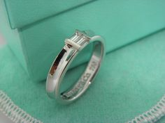 TIFFANY & CO. 18K White Gold Diamond Stacking Ring,SIZE 5.5 #TiffanyCo #Solitaire