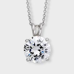 Classic cubic zirconia pendant features a 2.0 carat brilliant round prong set in 14k white gold. An Italian cable chain is included, with your choice of 16 inch or 18 inch length. This high quality cubic zirconia pendant is also available in 14k yellow gold. Cubic zirconia weights refer to equivalent diamond carat size.