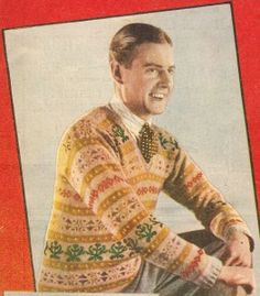 Mens 1920′s Fair Isle Sweater- The Fair Isle sweater is one of these more reasonable patterns. It came in a  V neck pullover style with patterned stripes where each row is a different pattern. The were busy but festive. The prince of Wales worn them on and off the golf course so naturally all men followed. http://www.vintagedancer.com/1920s/1920s-mens-sweaters/