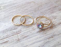 Satz von 3-Gold Ring Setzring Vintage Ring Stackble Ring