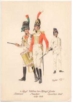 Westphalia; 1st Regt. Velites of the Kings Guard -Drummer, Musician and Barrack dress 1813-15