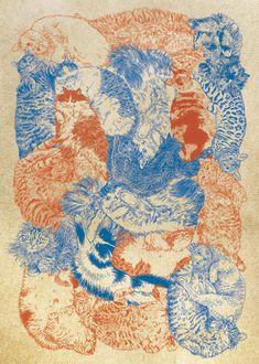 【つながり】#illust #猫 #design #猫 #cat #イラスト #猫デザイン #猫イラスト #細密画 #猫の絵 Quilts, Blanket, Illustration, Quilt Sets, Illustrations, Blankets, Log Cabin Quilts, Cover, Comforters