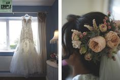 The beautiful wedding dress & the bride's floral hair piece. Weddings at Tankardstown House by Couple Photography. Wedding Bouquets, Wedding Dresses, Floral Hair, Hair Piece, Couple Photography, Bloom, Weddings, Bride, Couples