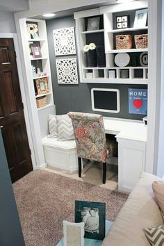 Great way to use a closet, or put a nook by the door the family uses most of the time.