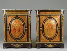 """PAIR OF """"BOULLE"""" T.S. AND EBONIZED WOOD SIDE CABINETS : Lot 82"""