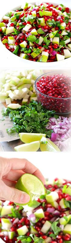 5-Ingredient Pear Pomegranate Salsa. Such a delicious way to have a colourful plate, which is one of our LiveWell principles! http://earthhour.wwf.org.uk/love-body-planet/