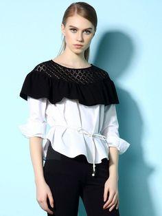 White Long Sleeve Round Neck Flounced Shirt  $29.00 - Tops