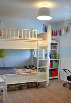 18 Admirable Shared Children Bedrooms To Amaze You : Beautiful Light Blue and White Stripe Wall Suburbs Mama Shared Children Bedroom Design ...