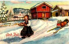 Julekort - Paul Lillo-Stenberg  Norsk Arbeide Stemplet 1945