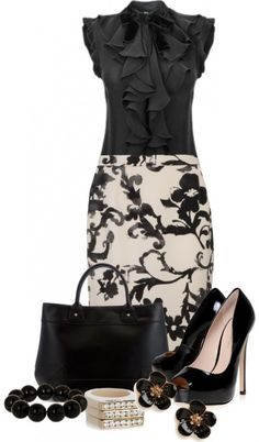 A classy work outfit featuring a two tone Moschino Cheap & Chic wedgewood print pencil skirt,  D&G black ruffle sleeveless blouse, KG Kurt Geiger black peep toe shoes and a black tote handbag.