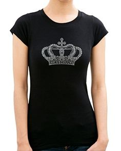 CROWN Rhinestone stud TShirts X LARGEBlack ** Click image to review more details.Note:It is affiliate link to Amazon.