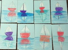 Sailboats with Reflections Art Lesson. To make this art lesson more challenging you can use a full sheet of paper and make several sailboats & reflections.