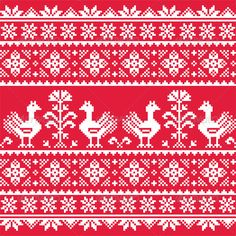 Ukrainian Slavic Folk Art Knitted Red Pattern  #graphicriver