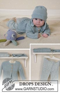 Jacket, trousers, hat, soft toy and blanket in Safran ~ DROPS Design
