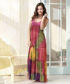 Women's #Crochet Trim Watercolor #Maxi Dresses #tiedye #festival