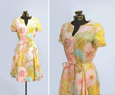 vintage 1960s dress // 60s silk dress // floral by LeMollusque, $78.00
